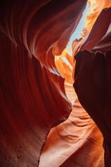 Vertical shot of the mesmerizing Antelope Canyon in Navajo, Arizona