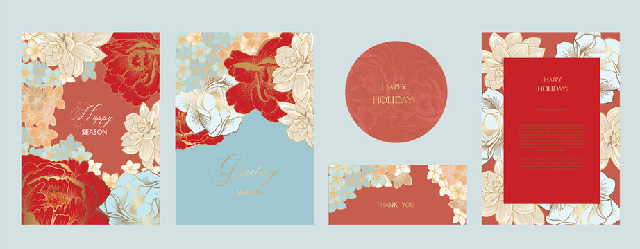 navy  Happy season greeting and new year vector background with deco element