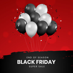 Wall Mural - Realistic ballons Black Friday sale banner set. Social media post or web ads design template. Price off discount background. Vector illustration.