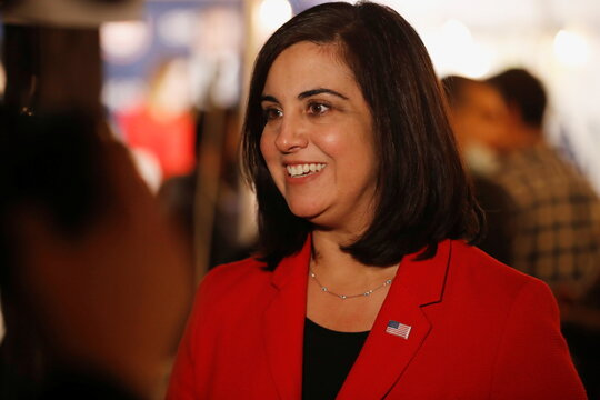 Republican congressional candidate for New York's 11th district Nicole Malliotakis looks on at the Staten Island Republican Party Headquarters election night watch party on Staten Island in New York City