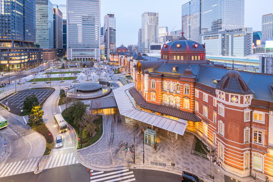 Tokyo Station with modern buildings in Tokyo city, Japan at twilight