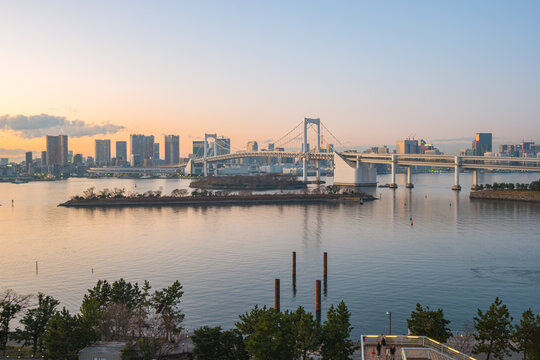 Sunset view of Odaiba in Tokyo city, Japan