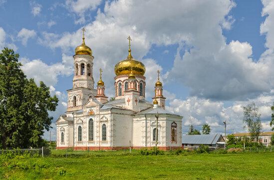 Old functioning Orthodox Church of the Nativity of Christ in the village of Lebyazhye, Ulyanovsk region