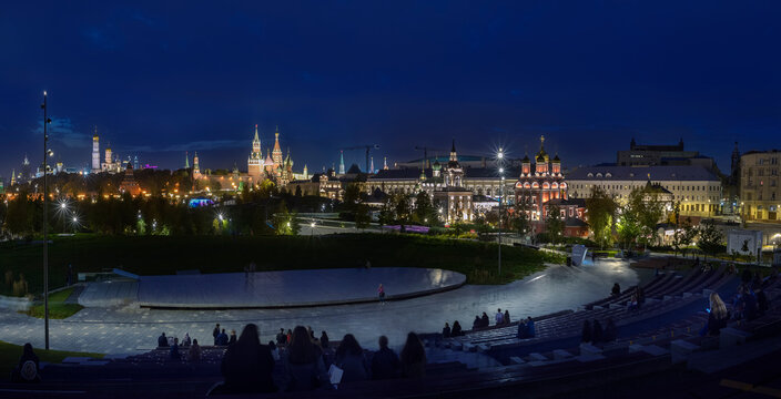 Moscow. October 10, 2020. The beautiful night view of the Kremlin, churches and temples from the steps of the open-air stage in the Zaryadye Park.
