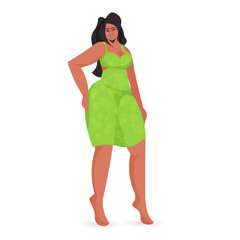 Wall Mural - beautiful african american girl sexy woman female cartoon character standing pose full length isolated vector illustration