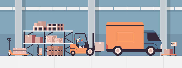 forkplift driver loading cardboard boxes in van product goods shipping delivery service concept warehouse interior horizontal vector illustration