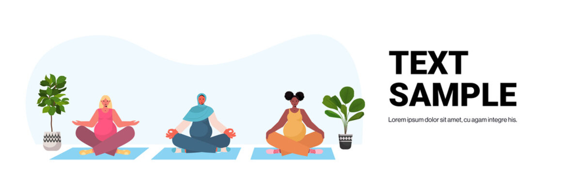 mix race pregnant women doing yoga fitness exercises training healthy lifestyle concept girls meditating together horizontal full length copy space vector illustration