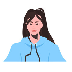 Wall Mural - young woman profile avatar beautiful girl female cartoon character portrait vector illustration