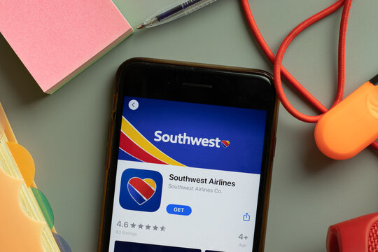 New York, USA - 27 September 2020: Southwest Airlines mobile app logo on phone screen close up, Illustrative Editorial