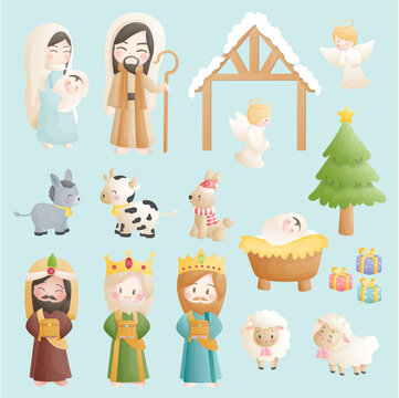 A Christmas nativity scene cartoon, with baby Jesus, Mary and Joseph in the manger with donkey
