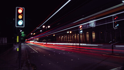 Traffic light trails on the street of a regency spa town Fotomurales