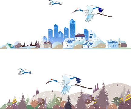 冬の都会の街並みと田舎の風景