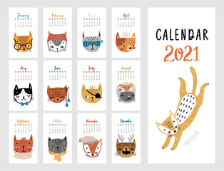 Wall Mural - Calendar 2021. Monthly calendar with cute Cats.