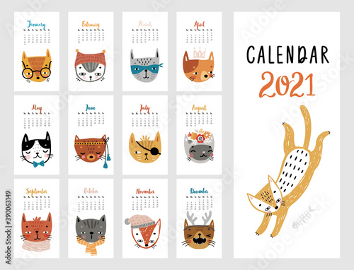 Wall mural Calendar 2021. Monthly calendar with cute Cats.