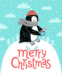 Wall Mural - Cute penguin drinking tea. Merry Christmas card.