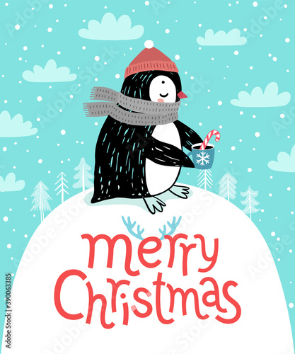 Wall mural Cute penguin drinking tea. Merry Christmas card.