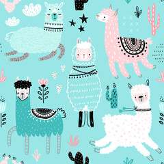 Wall Mural - Seamless pattern with Cute Llamas.