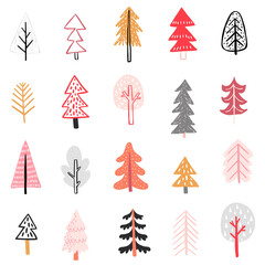 Wall Mural - Seamless pattern with Cute winter trees. Childish Colorful Background..