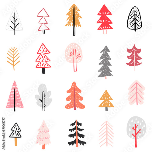 Wall mural Seamless pattern with Cute winter trees. Childish Colorful Background..