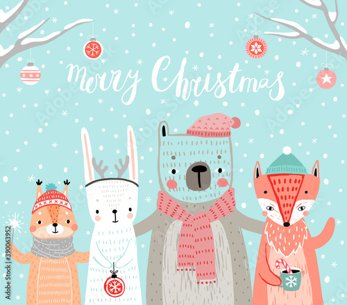 Wall mural Christmas card with animals, hand drawn style. Woodland characters, rabbit, bear,fox and squirrel.