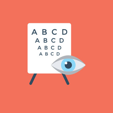 Eye examination by snellen chart used for visual acuity testing