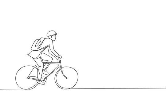 Single continuous line drawing young professional businessman riding bicycle to his company. Bike to work, eco friendly transportation concept. Trendy one line draw design graphic vector illustration