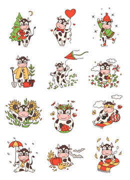 Cartoon bulls in different poses 2021 symbol vector set