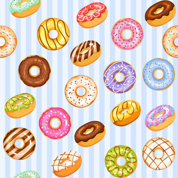 doughnut vector set, blue tasty sweets illustration