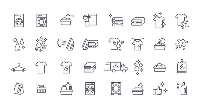 Laundry service thin vector set, housework outline template