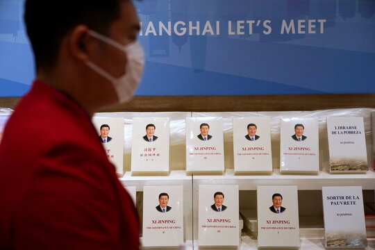 China's President Xi Jinping books, translated into foreign languages, are on display at a booth at the media center of the third China International Import Expo (CIIE) in Shanghai