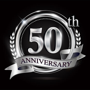 Celebrating 50th anniversary logo, with silver ring and ribbon.