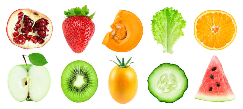 Collection of fruits and vegetables isolated on white background. Fresh food