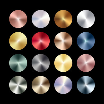 Radial conical metal chrome gradient set. Metallic rose gold, bronze, silver, steel, holographic rainbow, golden circles. Vector foil shiny color design elements for background, frame, label