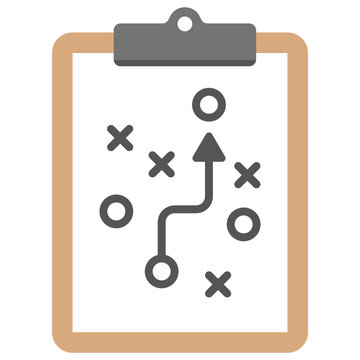 Clipboard with tactics flat vector icon