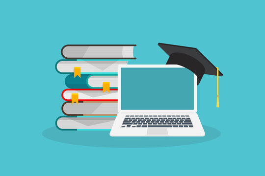 Online learning. Concept of webinar, business online training, education on computer or e-learning concept, video tutorial illustration.
