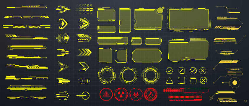 Large set of frames, circles and arrows in a futuristic style. Set of Sci Fi Modern User Interface Elements. Callouts titles and screen futuristic frame in HUD style. Vector illustration HUD, GUI, UI