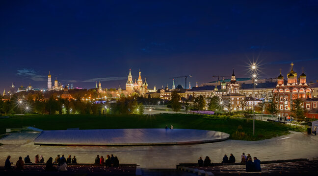 Moscow. October 10, 2020. Night view of the Kremlin, churches and temples from the steps of the open-air stage in the Zaryadye Park.