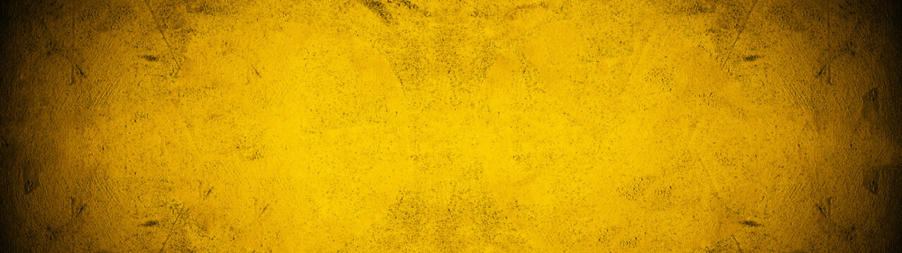 Dark black yellow golden stone concrete paper texture background panorama banner long, with space for text