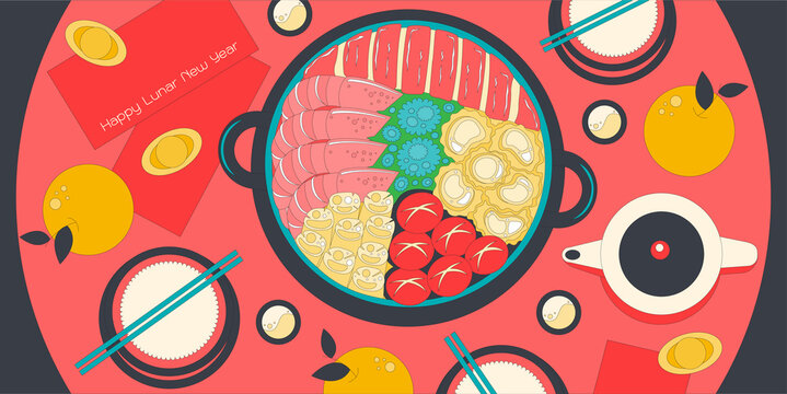 Illustration vector isolated big hot pot seafood on dinner lunar new year eve party or family reunion feast concept