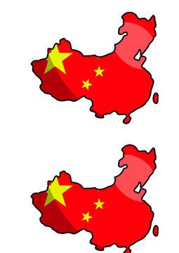 China Umriss mit Flagge