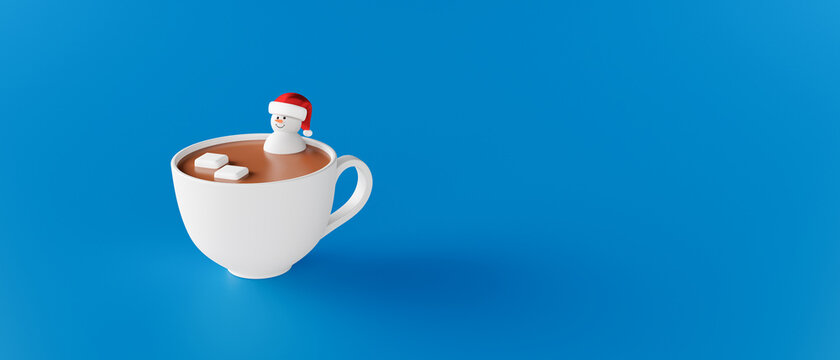 Snowman in a cup of hot chocolate. Winter Holidays concept 3d render 3d illustration
