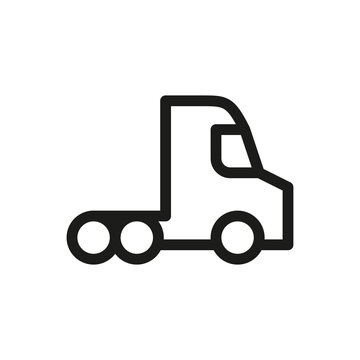 Semi truck tractor isolated icon, 18 wheeler truck outline vector icon with editable stroke