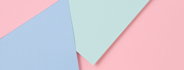 Abstract colored paper banner background. Minimal geometric shapes and lines in pastel pink, light blue and green colours