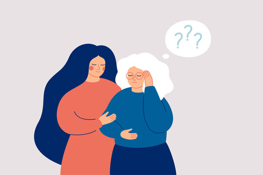 Memory loss concept. Senior woman has a mental disorder or amnesia. Nurse or social worker supports mature female with dementia. Vector illustration