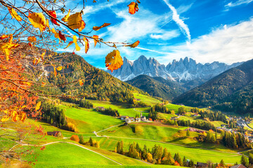 Awesome autumn scene of magnificent Santa Maddalena village in Dolomites