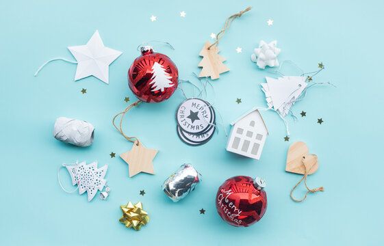 Merry christmas with ornament prop element on color background