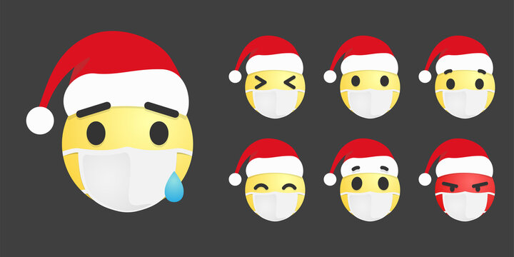 Vector set of emoticons in mask and santa hats
