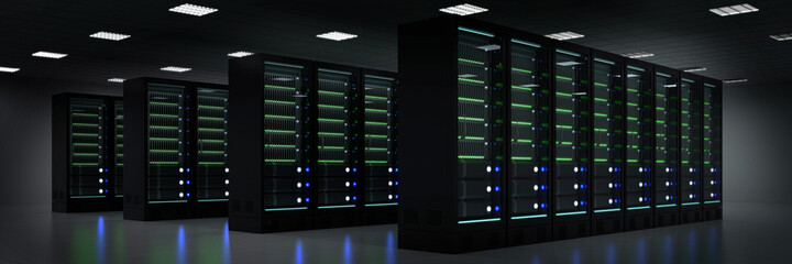 Darknet server room with many server computers