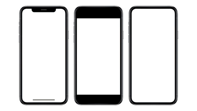 New realistic mobile phone smartphone mockup with blank screen isolated on white background, mockup model similar to iPhonex isolated Background of ai digital investment economy. HD