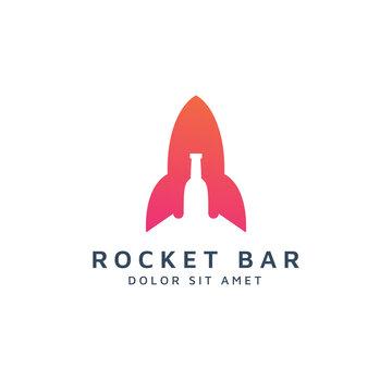 rocket and bar negative space logo design